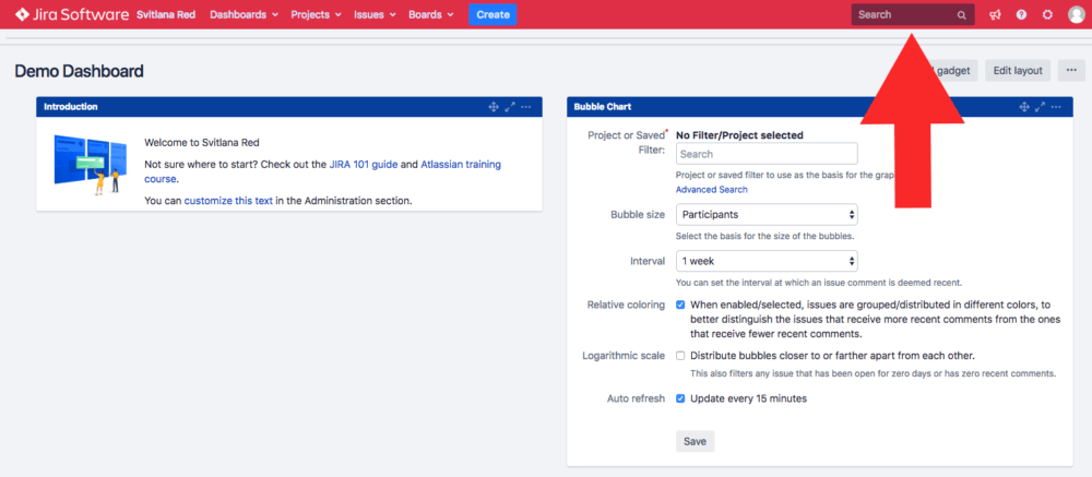 Find Jira Issues, Products, and keywords via the search field