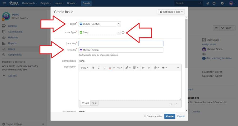 set up jira issue tutorial
