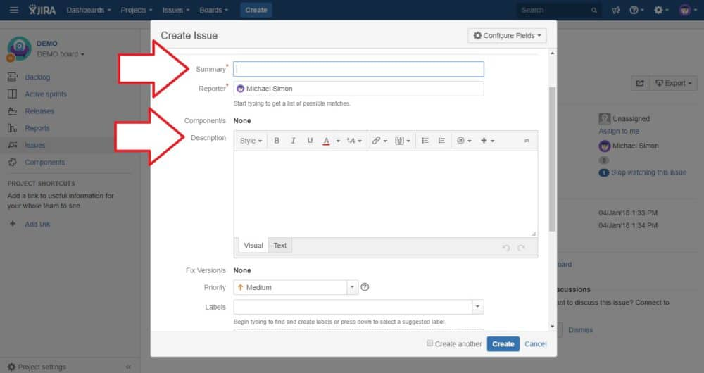 jira issue getting started