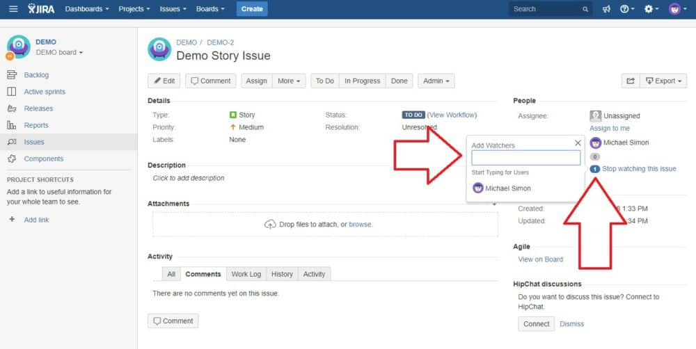 Watching Issues in Jira