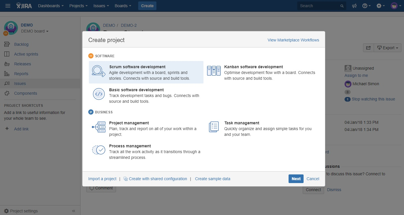 jira guide to projects