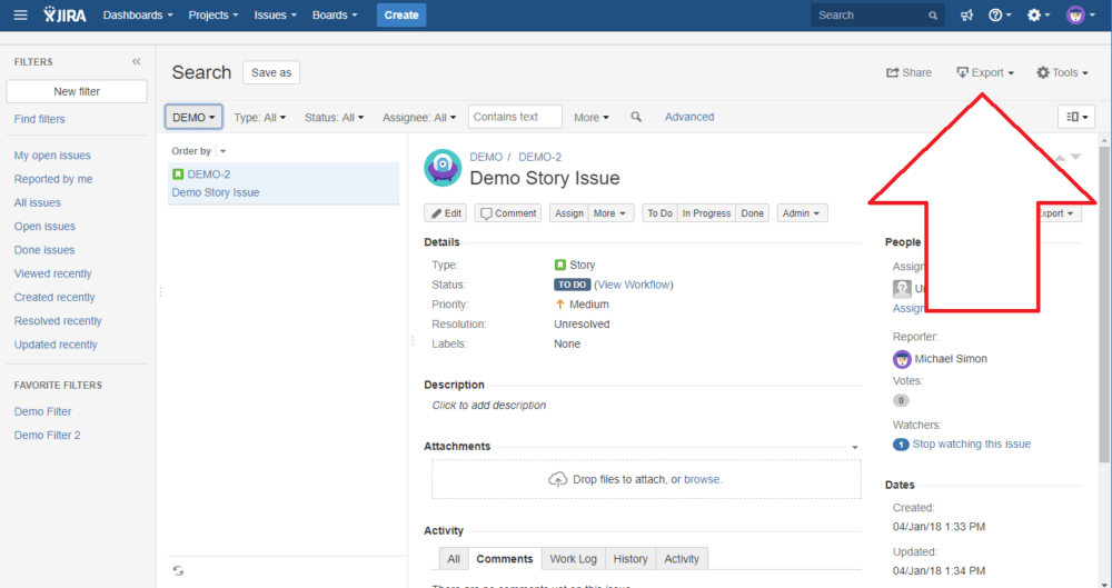 export data from jira