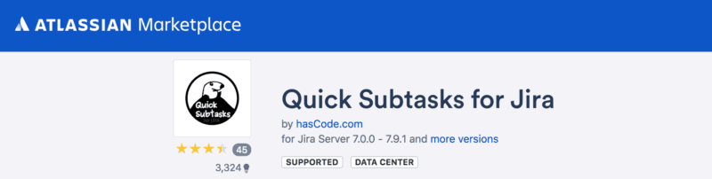 Free plugin Quick Subtasks for Jira