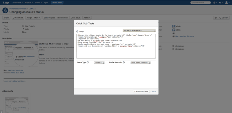 Easily create subtasks in Jira for free