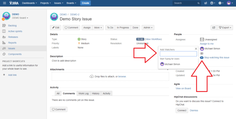 Watch jira notification scheme