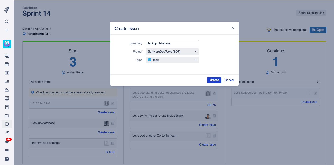 Create a new Jira retrospectives