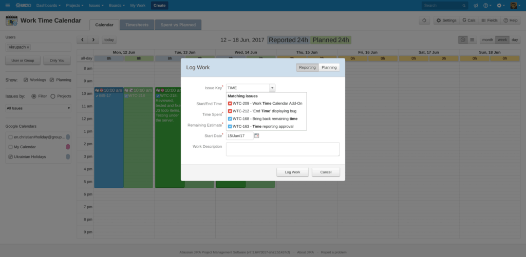 Jira work time calendar for time tracking