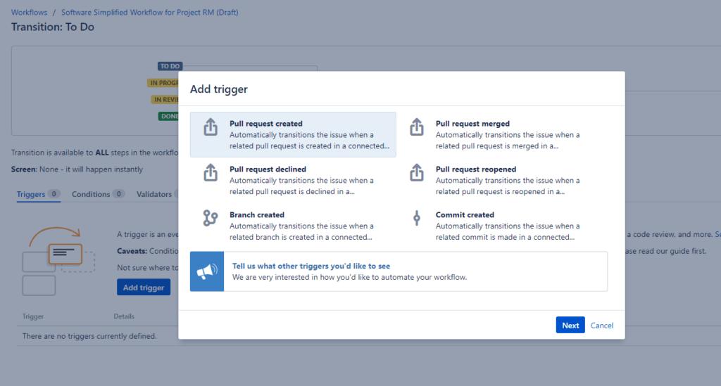 Set up status triggers