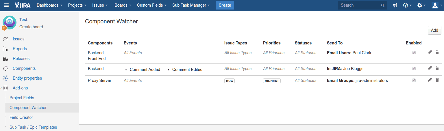 COmponant Watcher for Jira Cloud