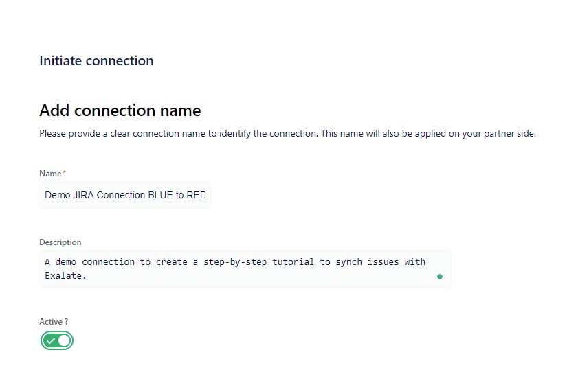 Jira to Jira integration connection name