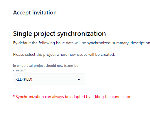 Accept invitation Jira to Jira sync