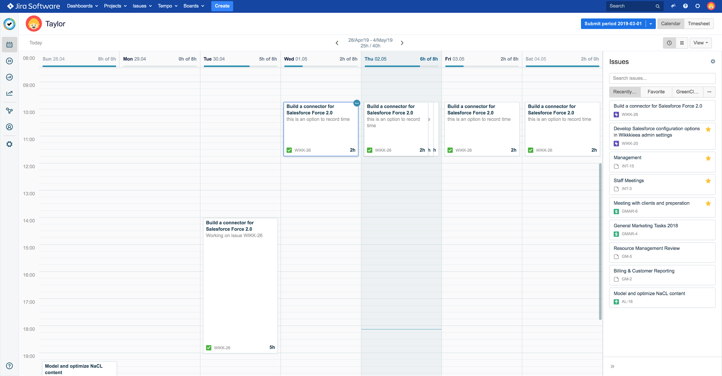 Fusing an agenda and a timesheet jira