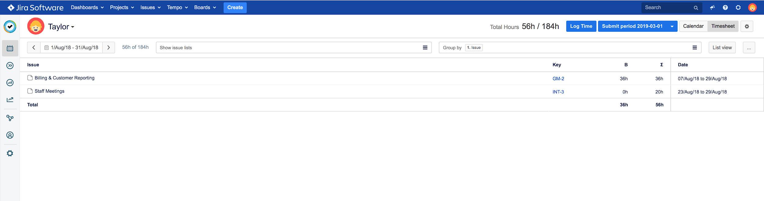 Timesheet view for Jira