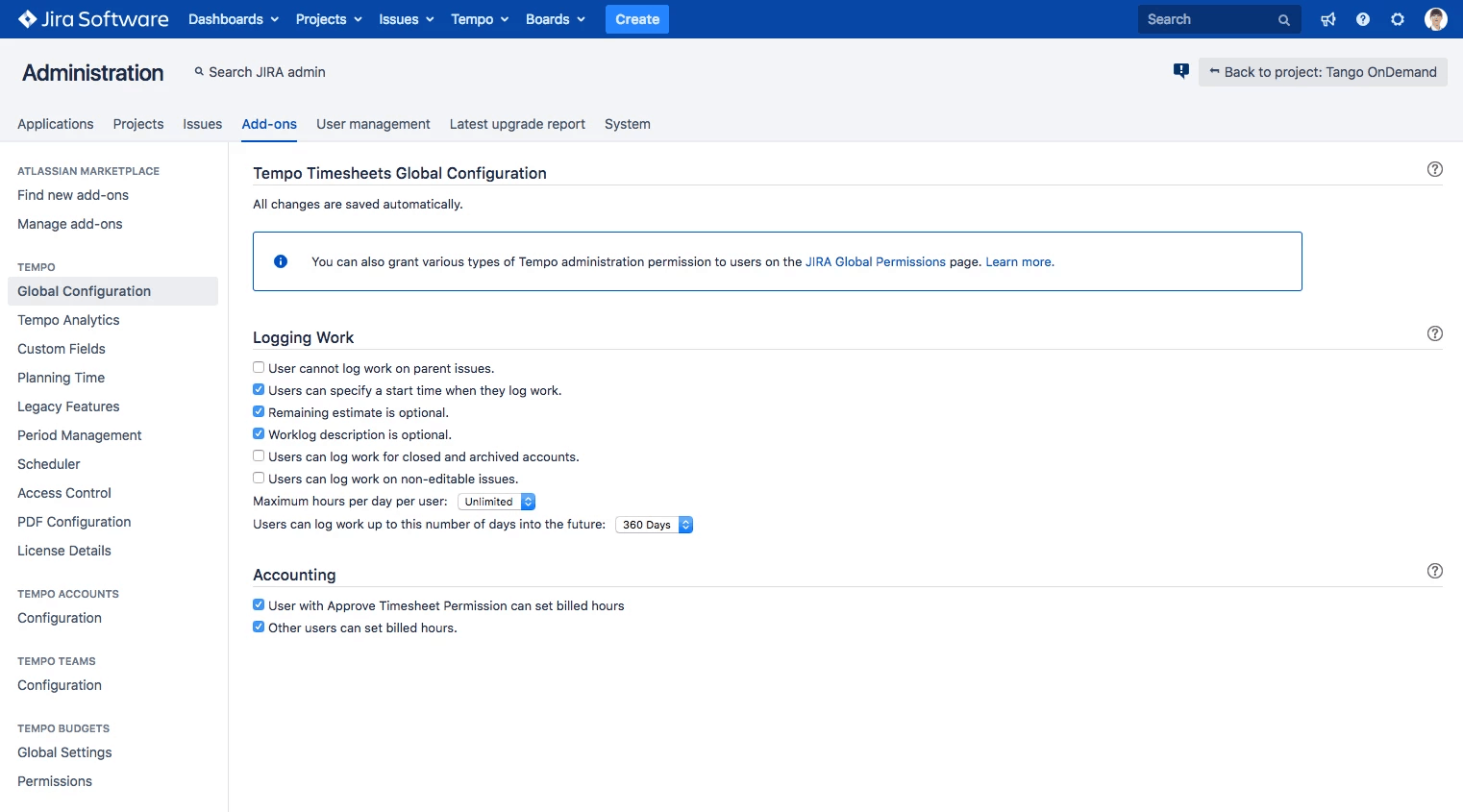 Adding billable time via Global Configuration jira