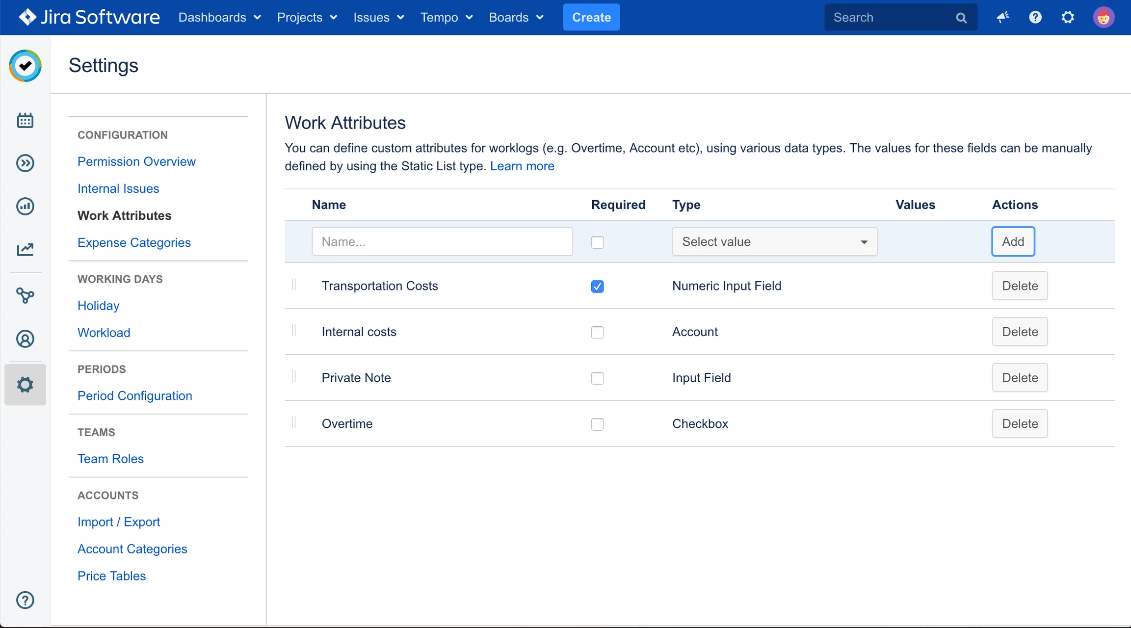 Using work attributes jira tempo