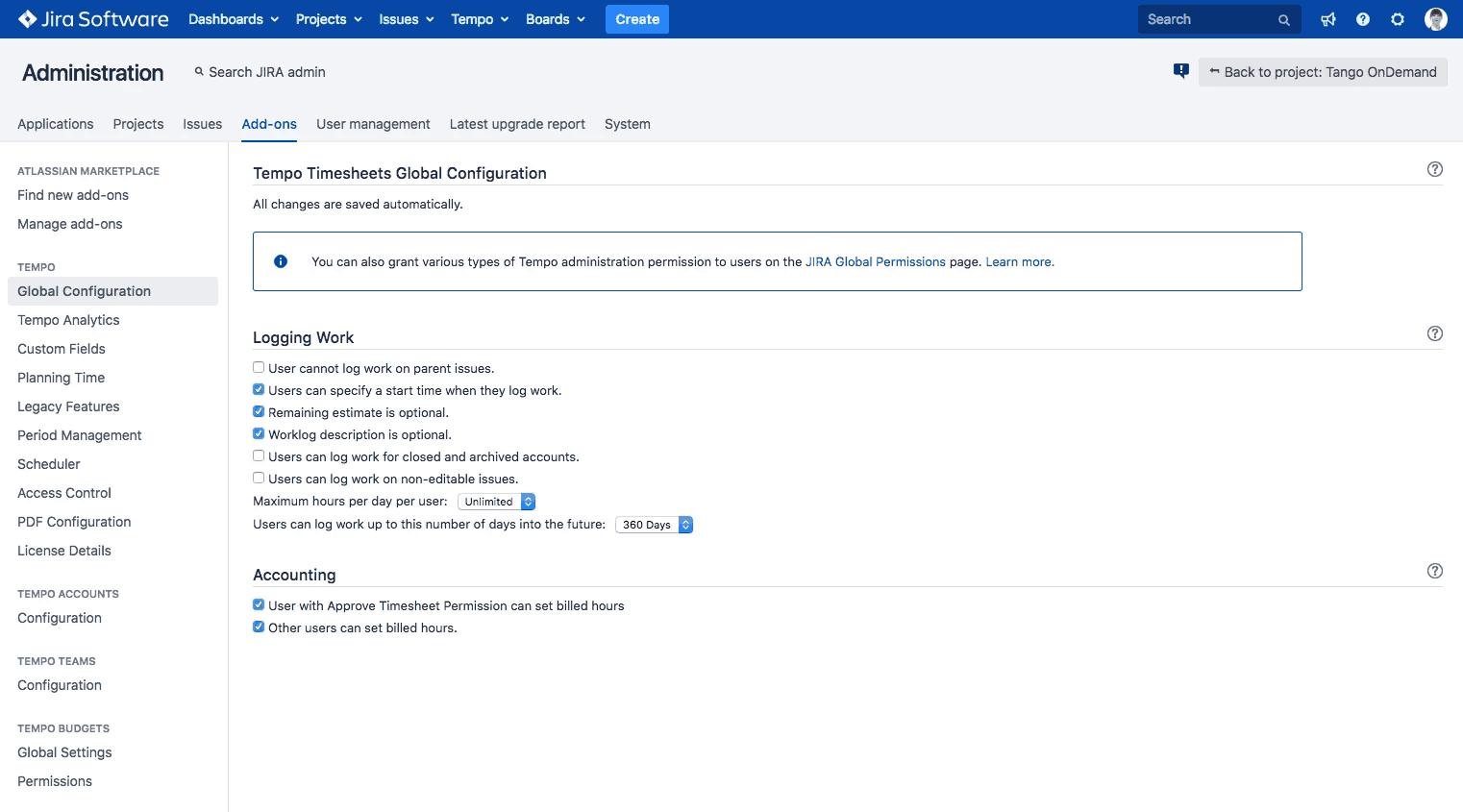 Adding billable time via Global Configuration jira