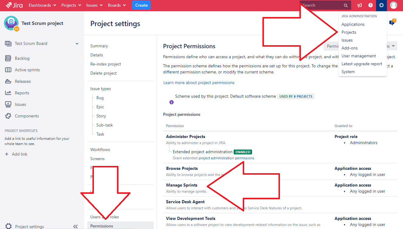 check project permissions