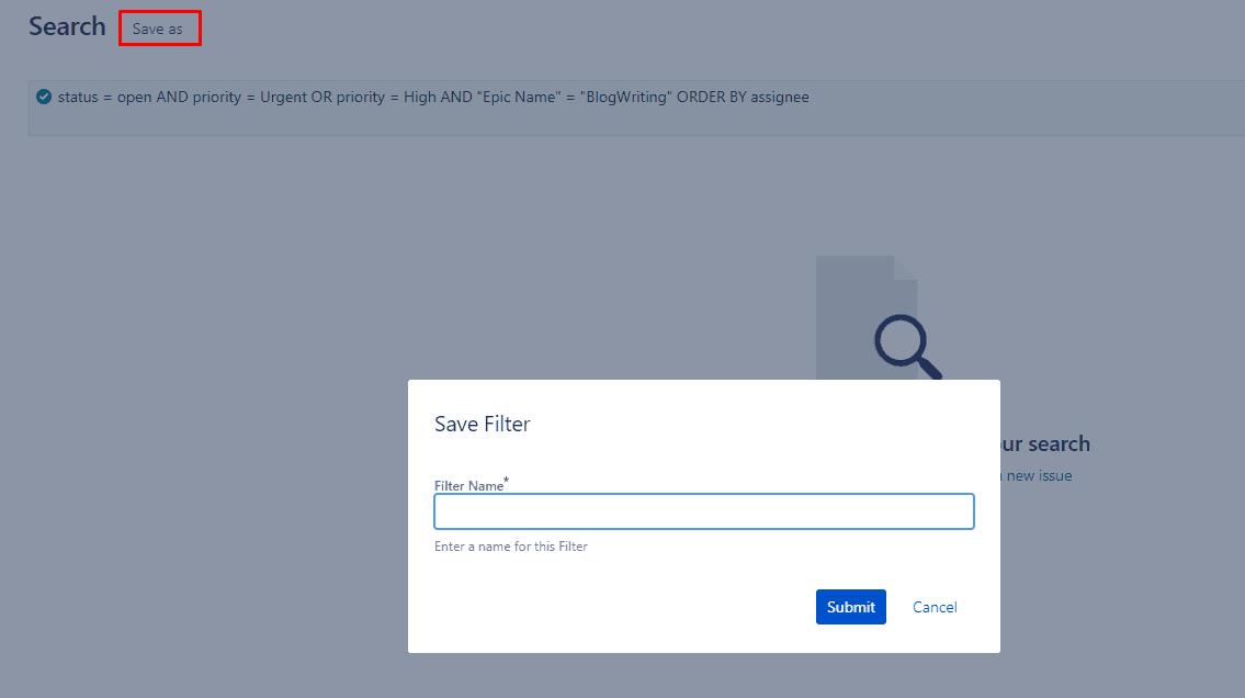 Saving JQL Filters