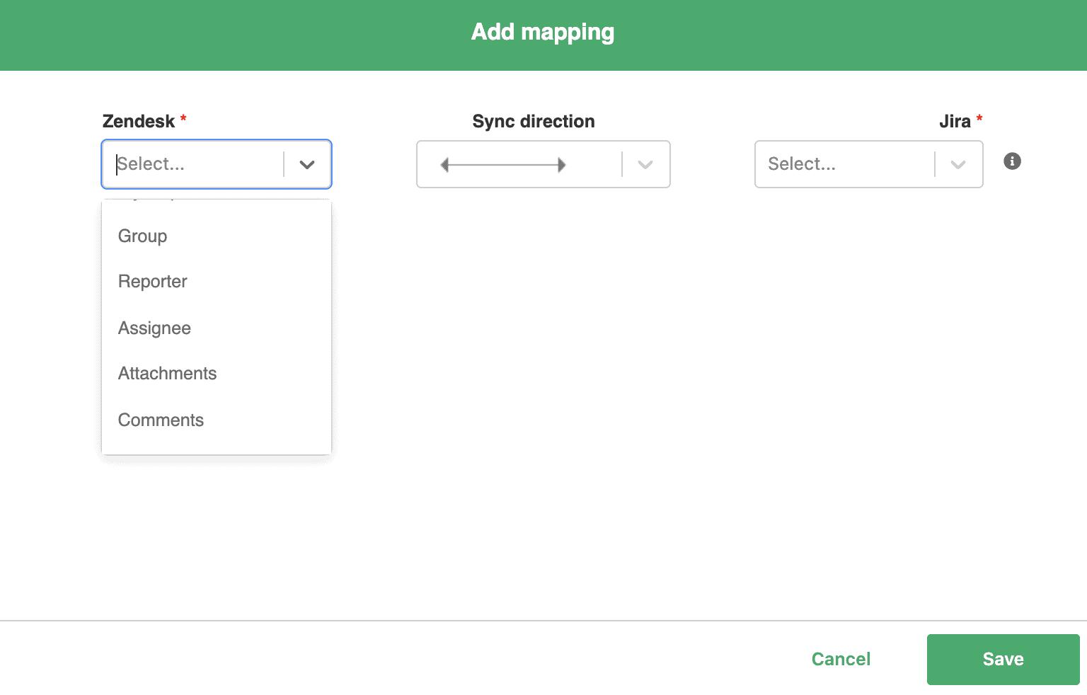 add mapping to jira zendesk sync