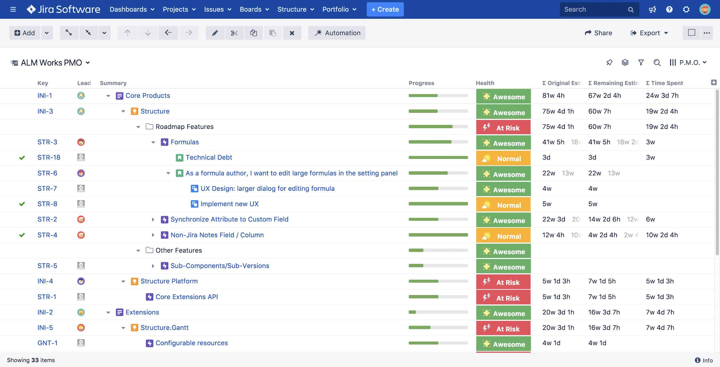 Structure for Jira view
