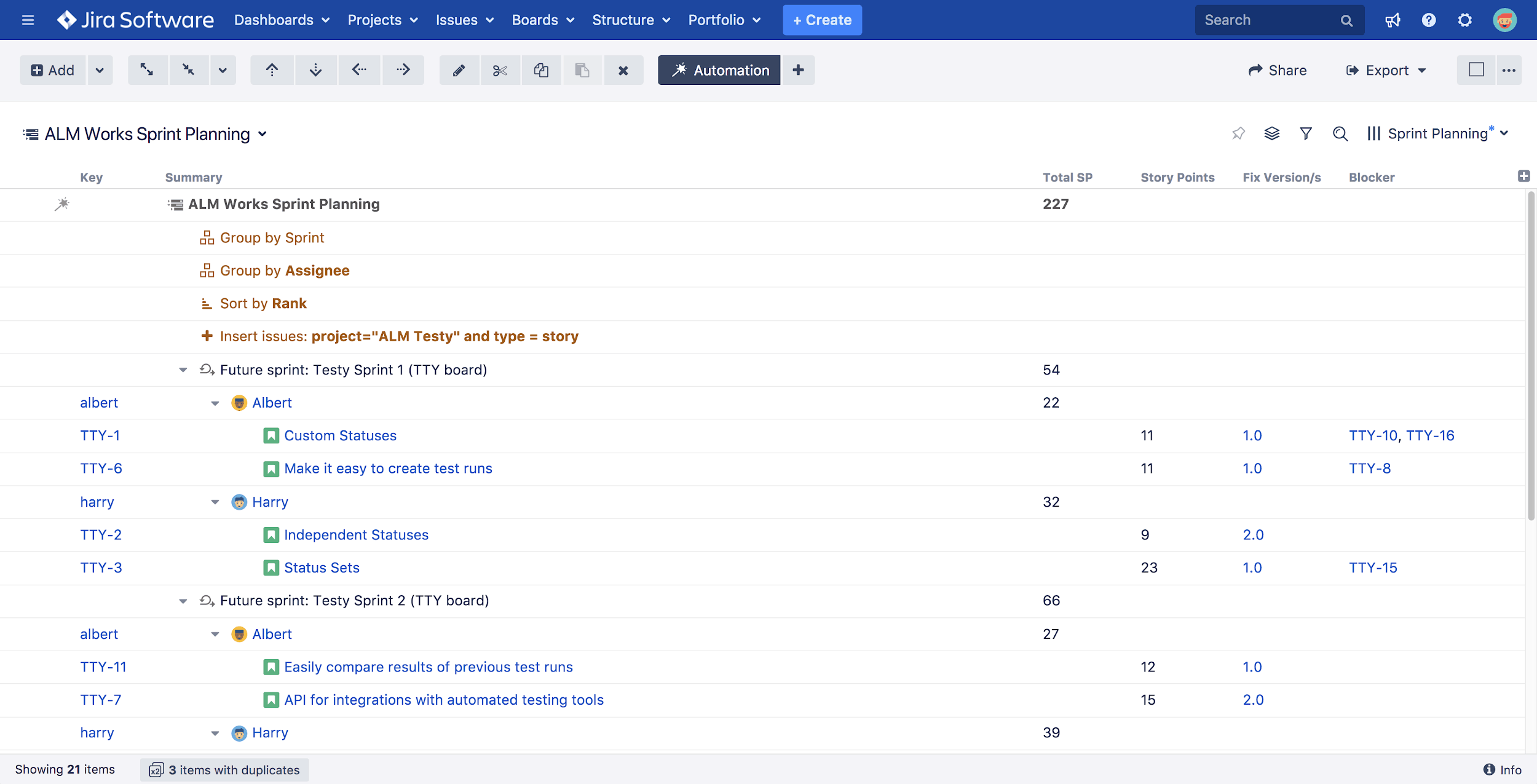 Structure for jira capacity planning