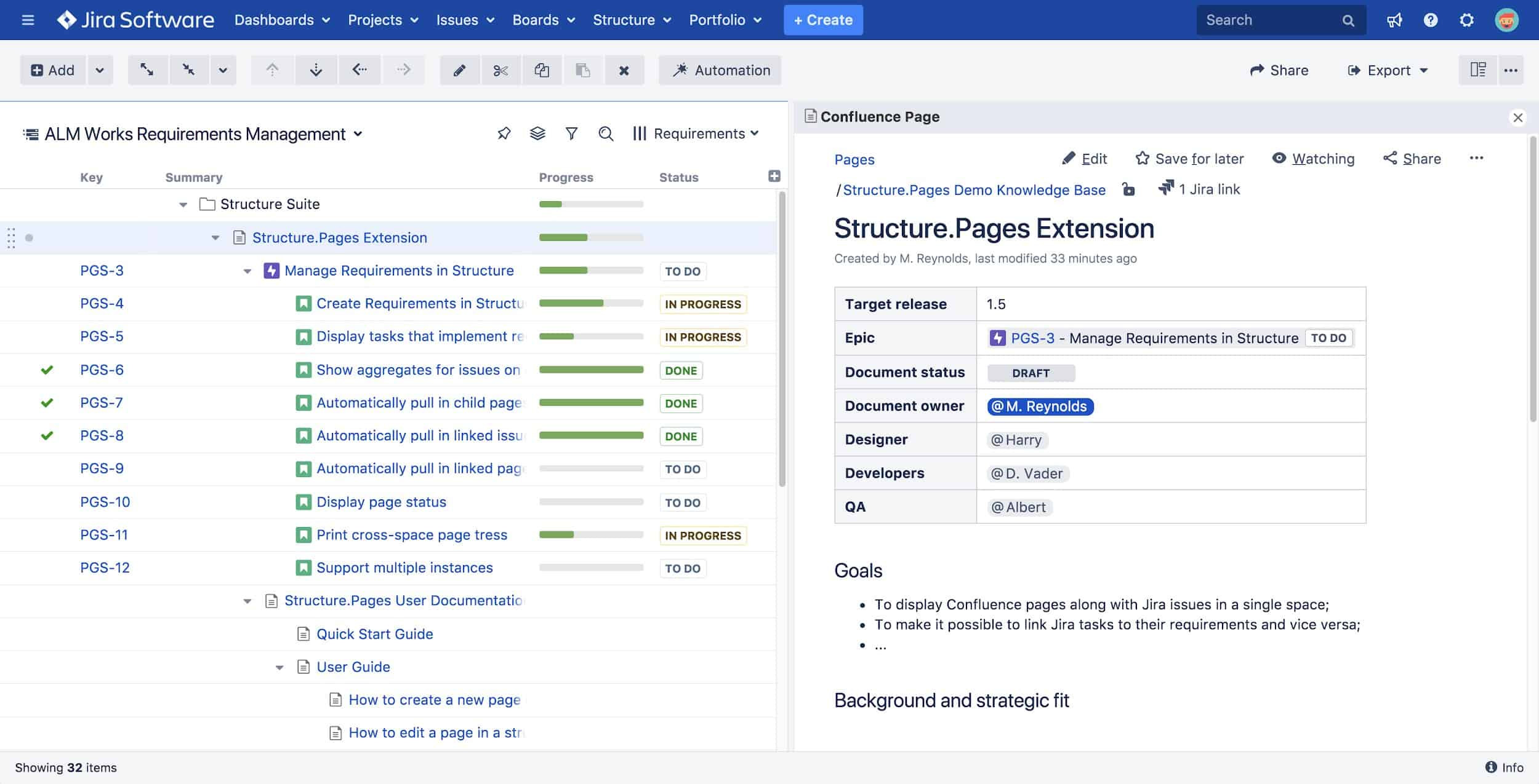 Structure for Jira pages Extensions