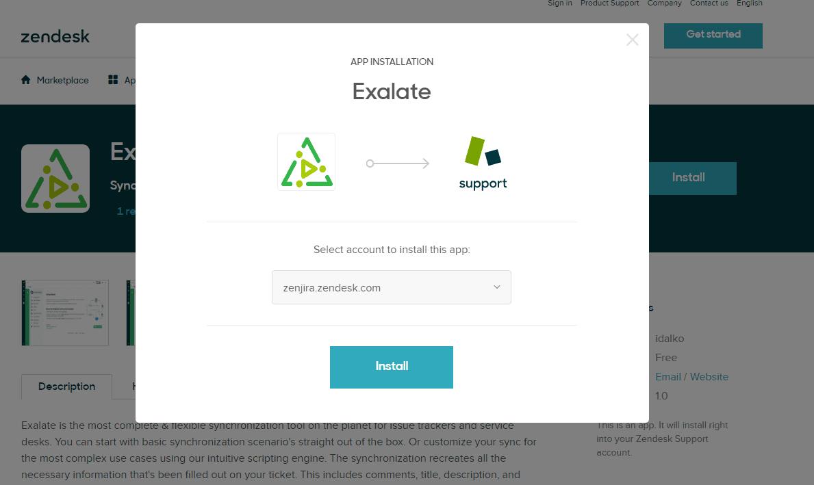install exalate on Zendesk