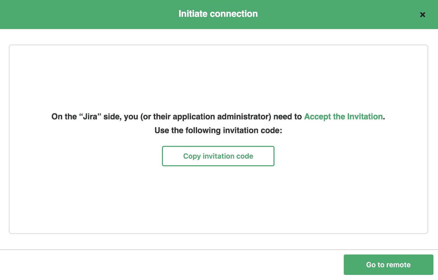 Invitation code for integration
