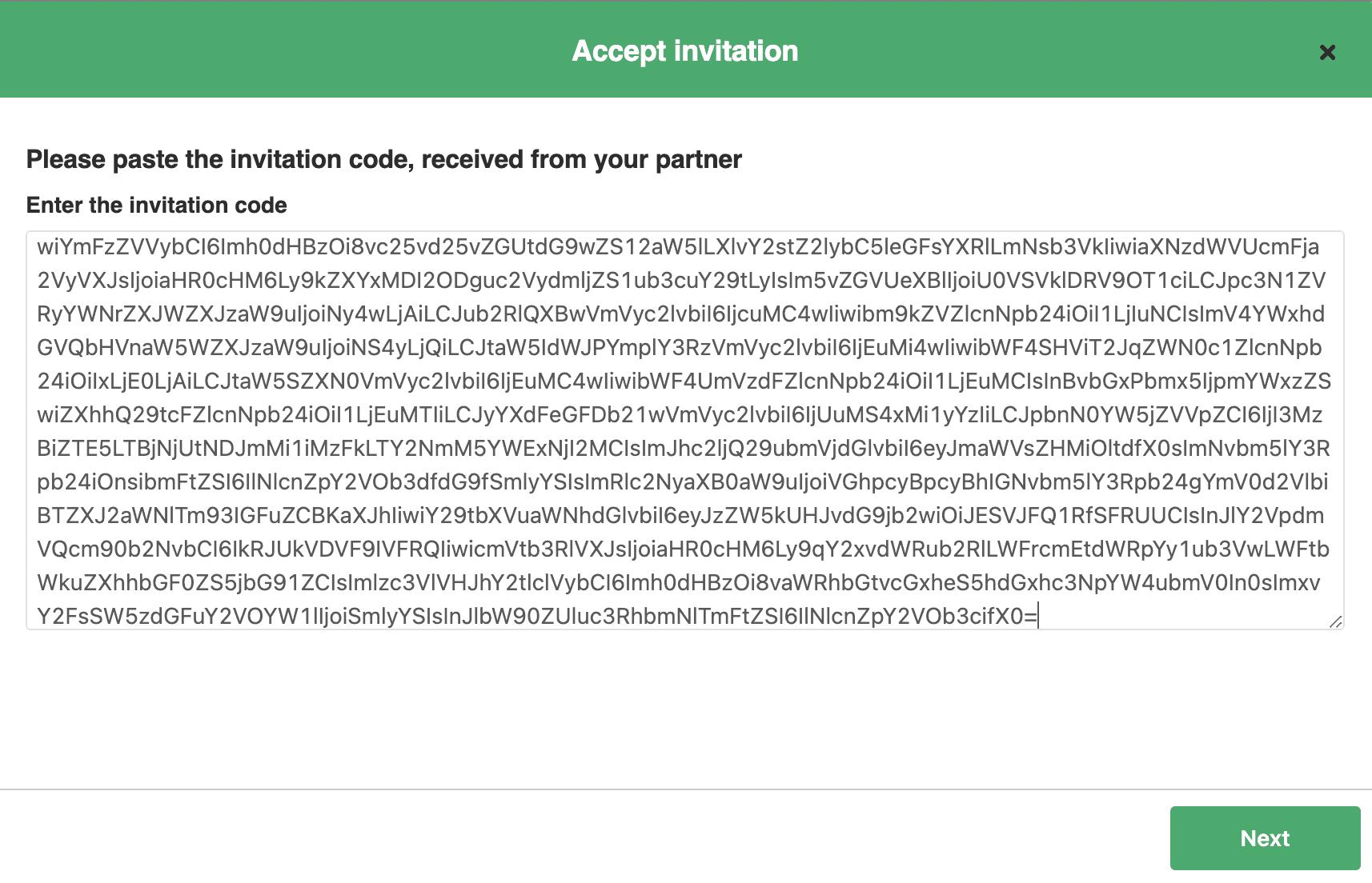 Accept Integration invitation