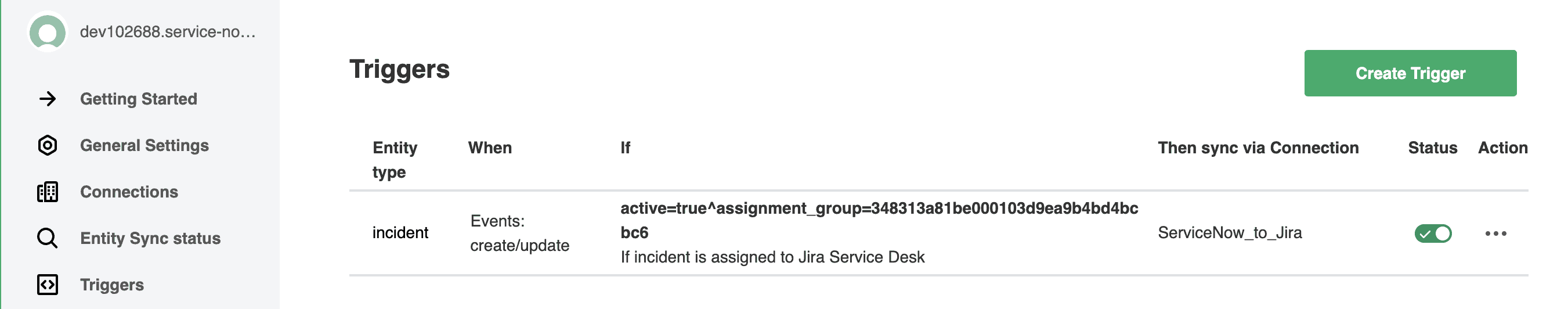 ServiceNow Jira integration trigger for ServiceNow