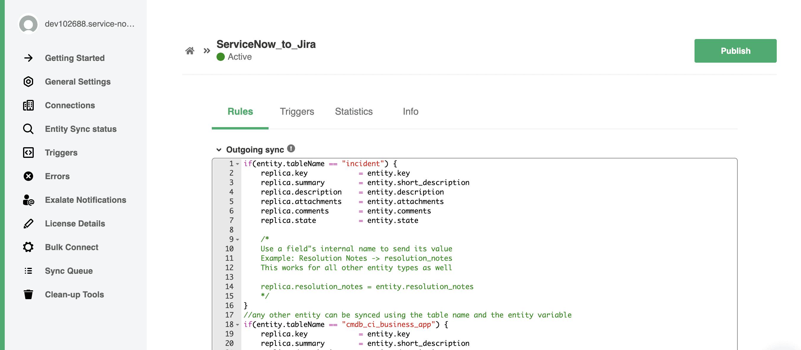 Edit Jira ServiceNow integration