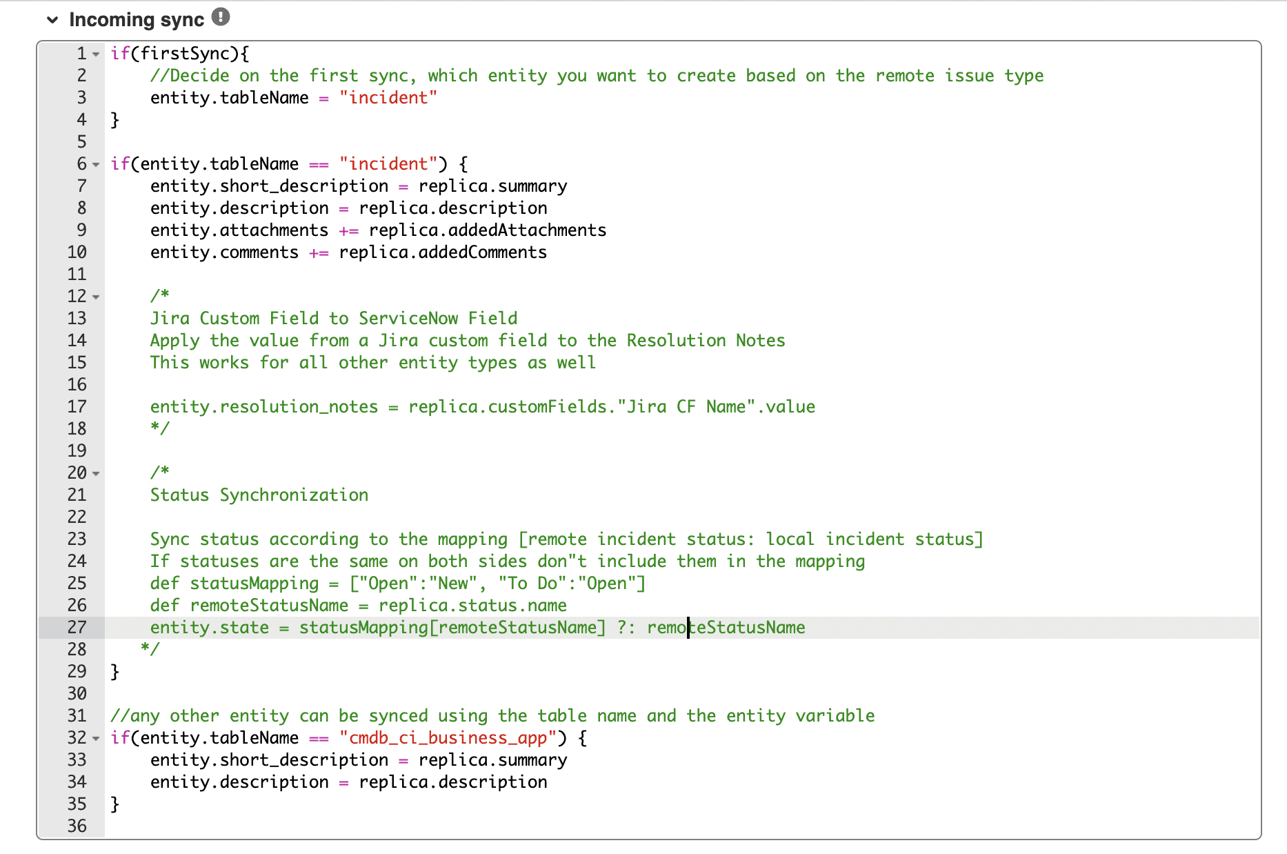 Configure integration jira servicenow incoming