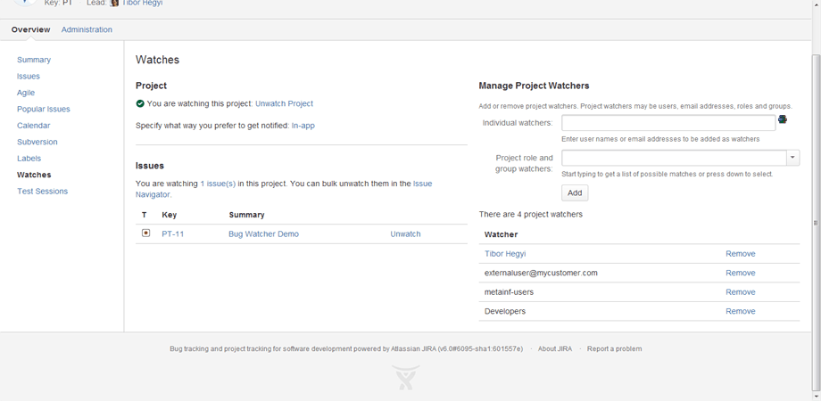 Workflow bug watcher in Jira