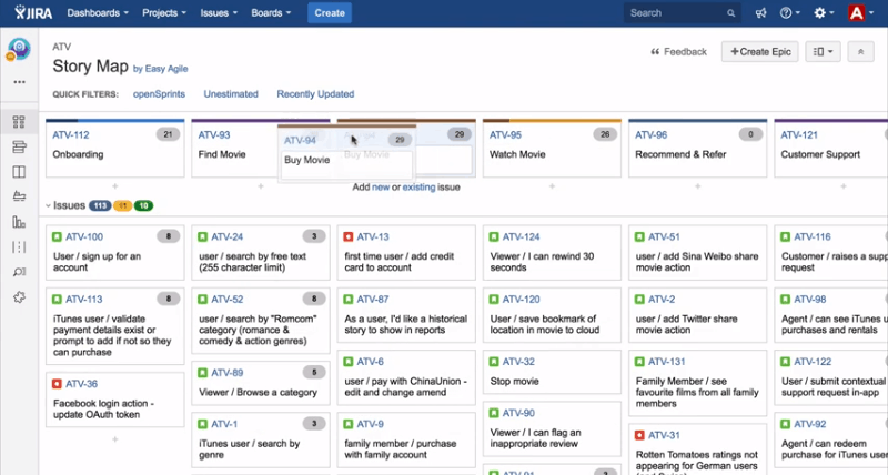 jira story map for scrum