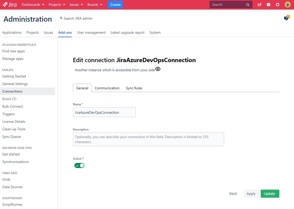 edit connection azure devops jira
