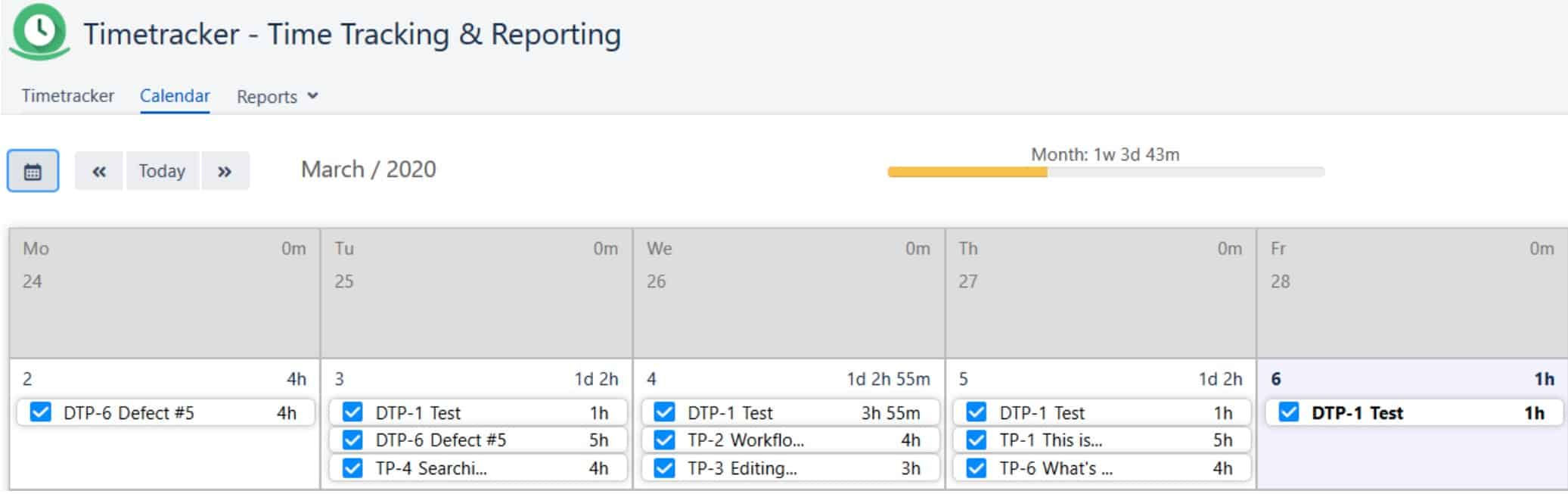 time tracking and reporting for jira