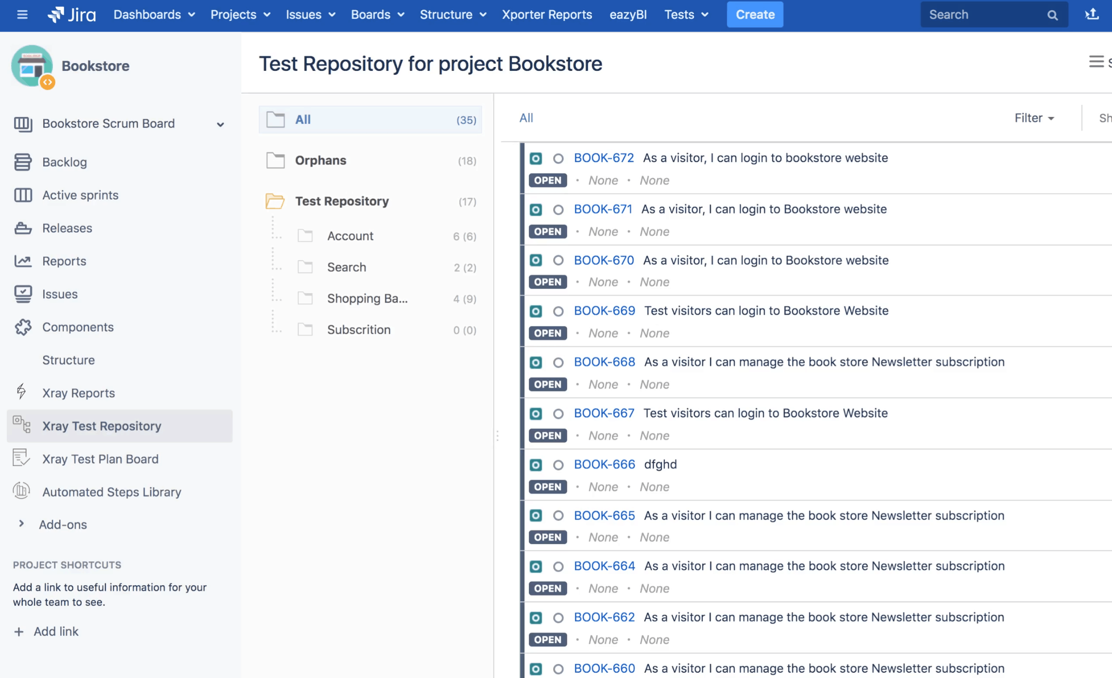 jira test repository with xray