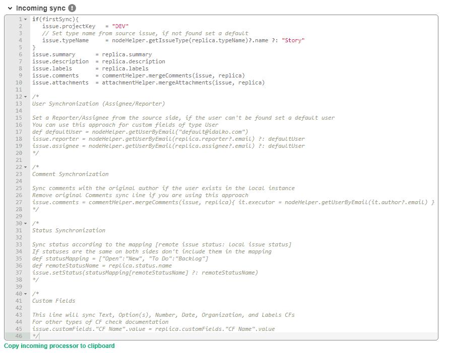 jira server incoming sync