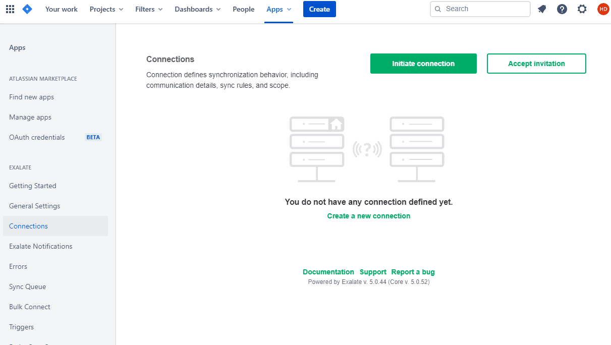 initiate connection from Jira Server to Cloud