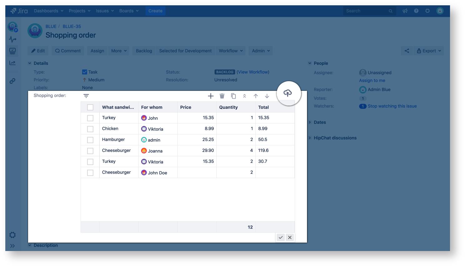jira tables data