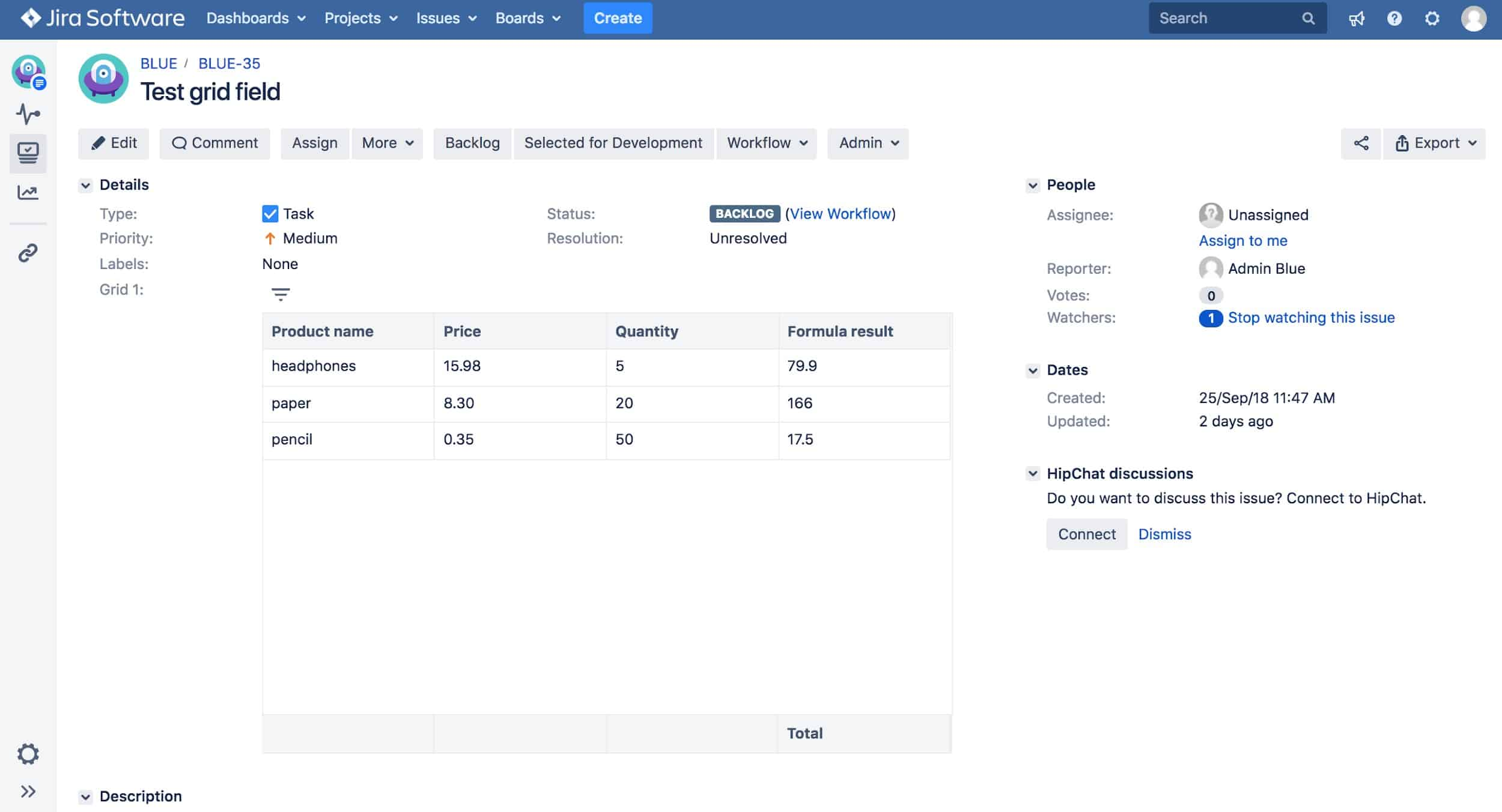 add grids to tables in jira