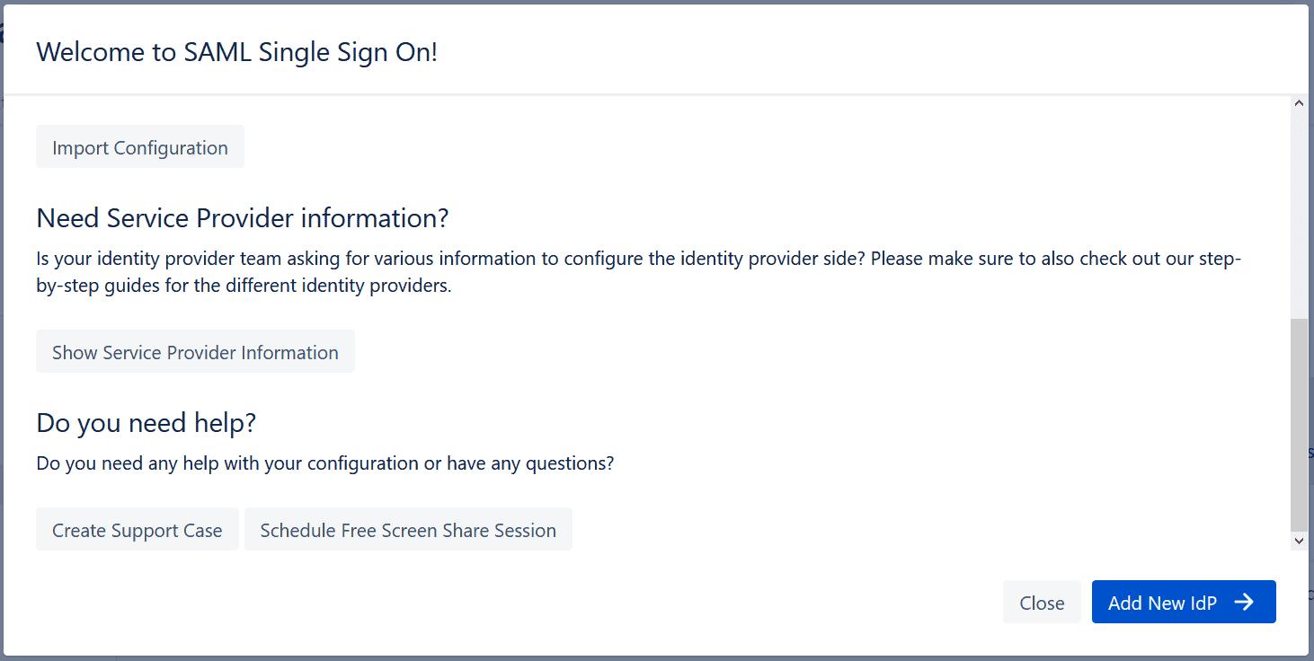 SAML Configuration Wizard Service Provider
