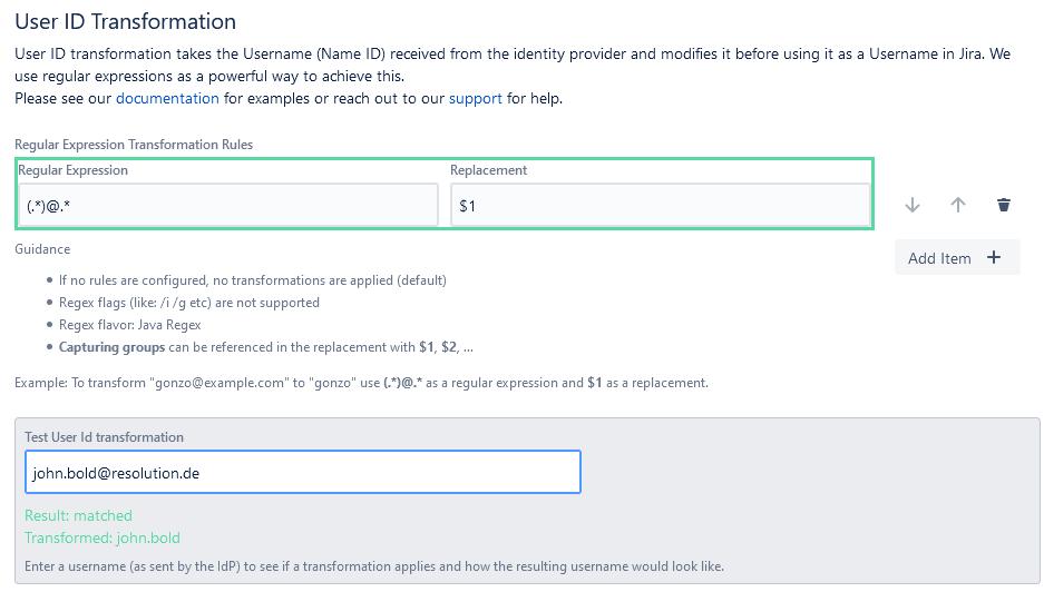 Jira SAML SSO user ID transformation
