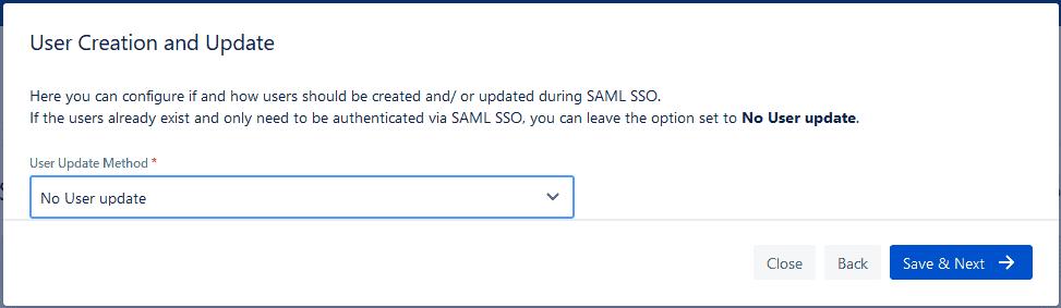 Jira SAML SSO no user update