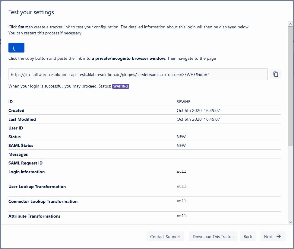 SAML test tracker