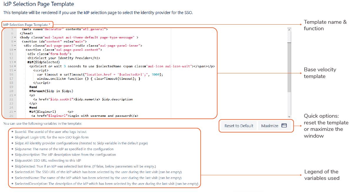 IdP selection page template SAML