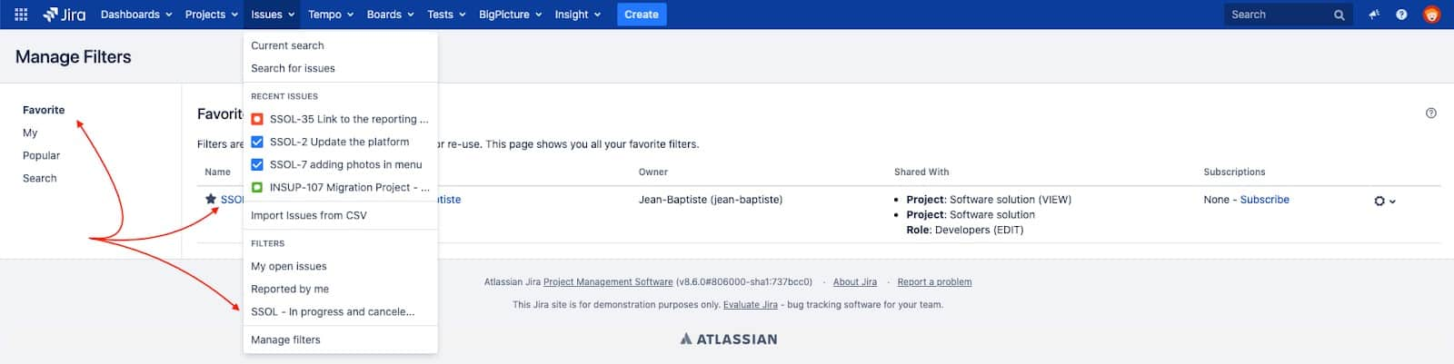 manage filters in jira