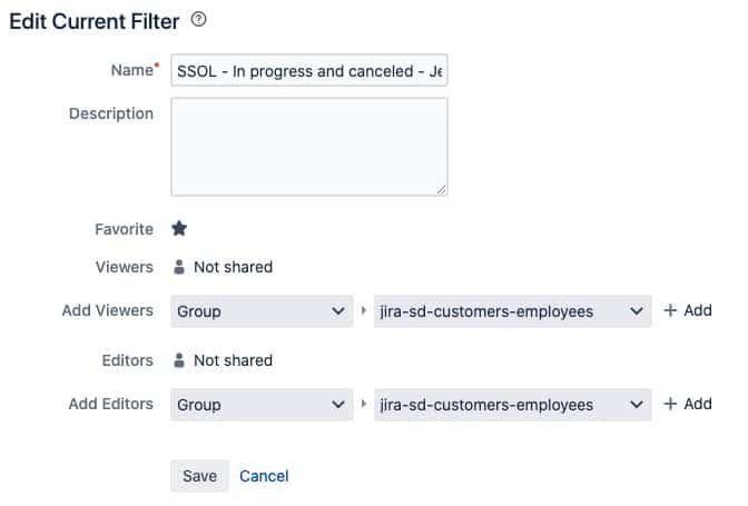 edit current jira filters
