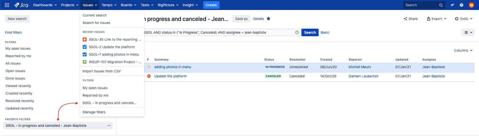 view all jira filters