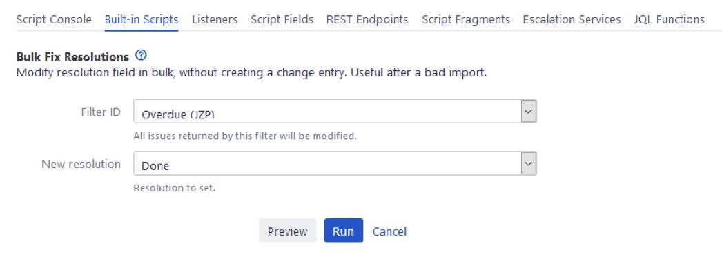 Scriptrunner for jira bulk fix resolutions